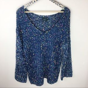 Lumiere Speckled Wide V Neck Sweater
